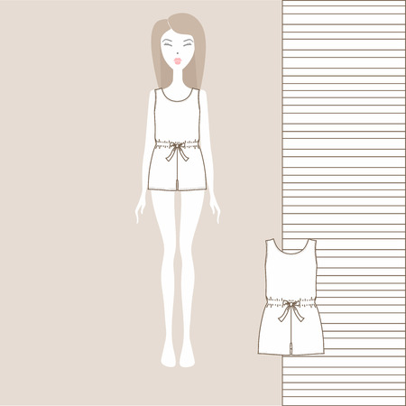 A set of womens clothing shorts and a T shirt Çizim