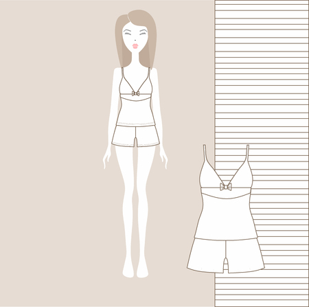 a set of womens clothing shorts and a T-shirt. girlish home clothes, pajamas. set sewn from cotton. Çizim