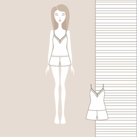 A set of women's clothing shorts and a Tank top Illustration