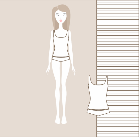 Female underwear set with panties and tank top. linen from cotton. Lingerie