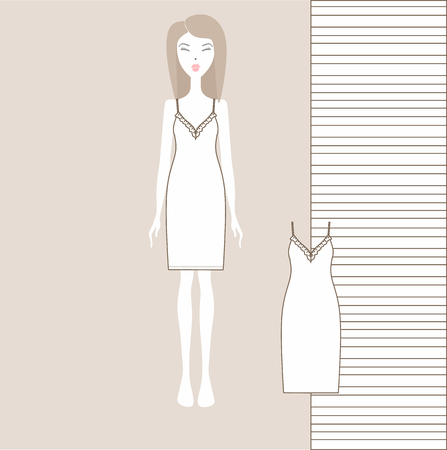 womens home dress. nightgown, nightie. Summer cotton dress made of jersey. Illustration