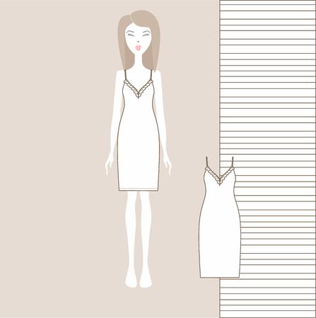 womens home dress. nightgown, nightie. Summer cotton dress made of jersey. Ilustração