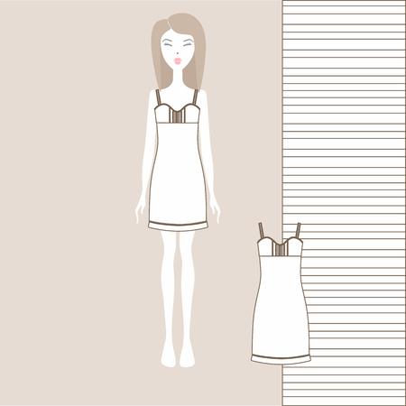 Womens home dress Çizim