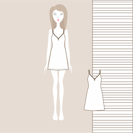 Women's home dress. nightgown, nightie. Summer cotton dress made of jersey. Ilustração