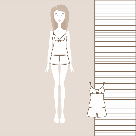 a set of women's clothing shorts and a T-shirt. girlish home clothes, pajamas. set sewn from cotton. Çizim