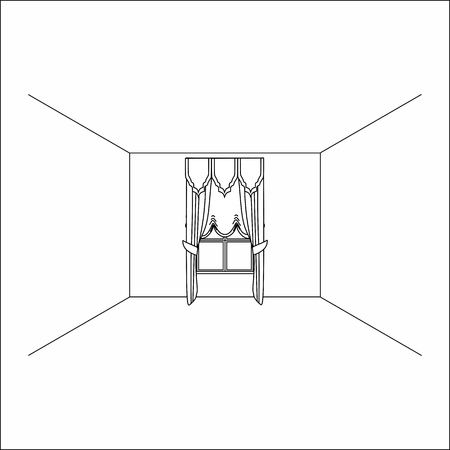 Luxury silk velvet curtains and draperies. curtains in the interior of the window. Illustration