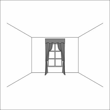 Luxury silk velvet curtains and draperies. curtains in the interior of the window. Ilustração