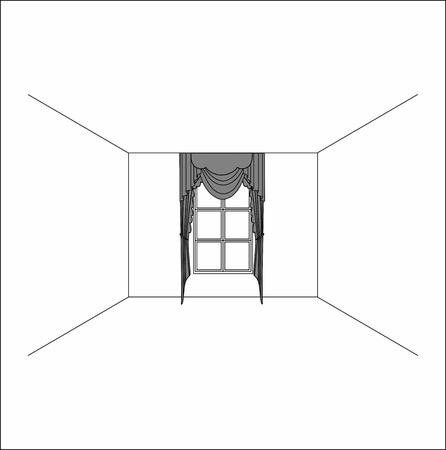 Luxury silk velvet curtains and draperies. curtains in the interior of the window. Illusztráció
