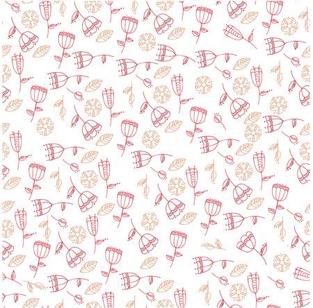 pattern with stylized flowers. seamless background. Ilustração