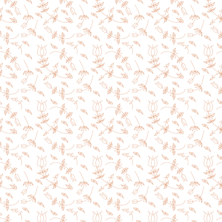 Seamless Floral Pattern in vector, sketched flower print, seamless background, Banco de Imagens - 110885856