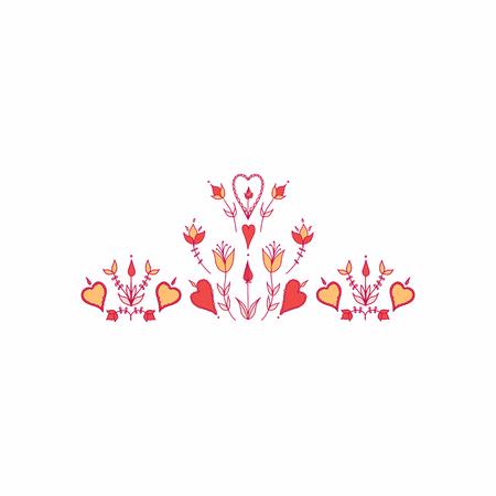 Oranment in folk style. folk motif. stylized flowers. hearts and flowers. stylization of natural motive Banco de Imagens - 116706888