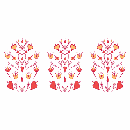 Oranment in folk style. folk motif. stylized flowers. hearts and flowers. stylization of natural motive Banco de Imagens - 125294442