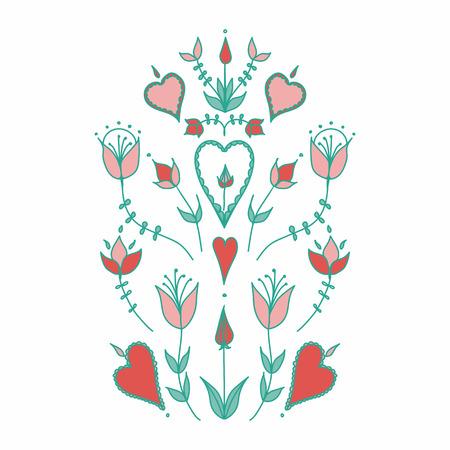 Oranment in folk style. folk motif. stylized flowers. hearts and flowers. stylization of natural motive Banco de Imagens - 116706891