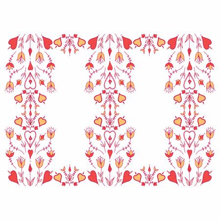 Oranment in folk style. folk motif. stylized flowers. hearts and flowers. stylization of natural motive