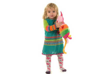 A little girl with colored cat