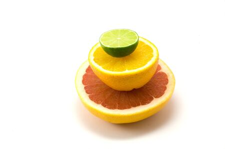 lifestile: Composition with lime, orange and grapefruit on the white background