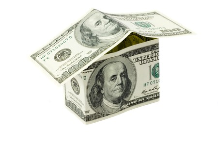 Dollars house in white background photo