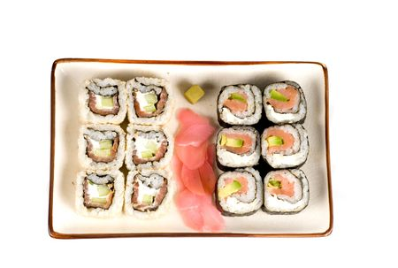 A selection of rolls sushi against a white background Stock Photo - 4602214