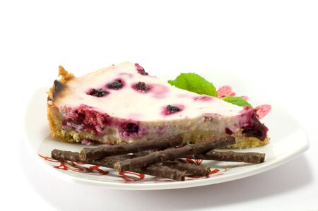 A peace of homemade berry pie, isolated on the white photo