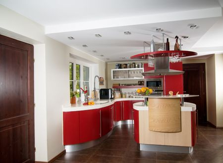 Shot of beautiful red modern kitchen, interior Stock Photo - 5820097