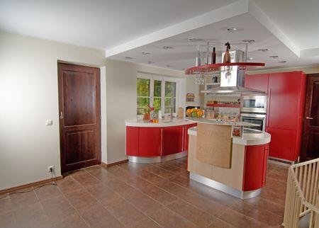 Shot of beautiful red modern kitchen, interior
