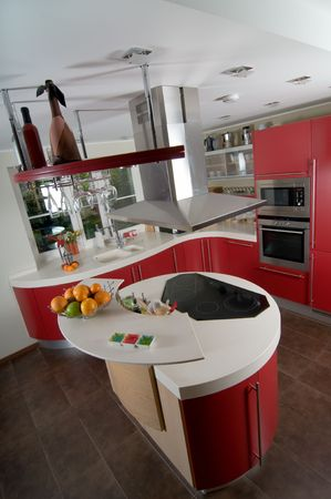 Shot of beautiful red modern kitchen, interior Stock Photo - 5509185