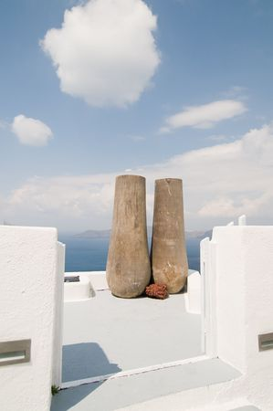 Two big pots on Santorini island, beautiful view photo