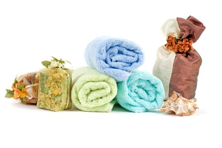 Shot of spa accessories, isolated on white Stock Photo - 5648833