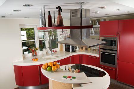 Shot of beautiful red modern kitchen, interior photo