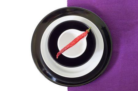 rythm: Still life decoratin, black and white plates
