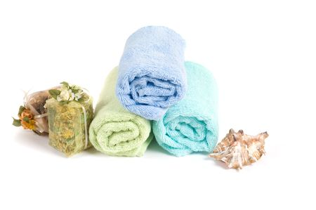 Shot of spa accessories, isolated on white Stock Photo - 5750614