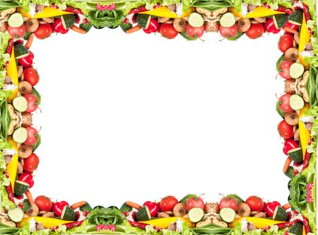 Multicolored vegetable frame with white isolation photo