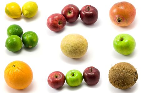 Shot of mixed fruits isolated on white