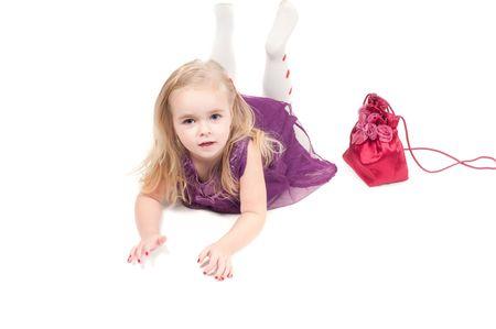 Studio shot of baby girl in lilac gala dress Stock Photo - 6244665