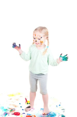 Studio shot of little girl playing with colors Stock Photo - 6342404