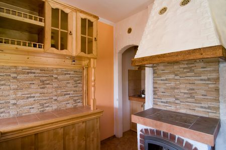 Shot of beautiful kitchen in countryhouse photo