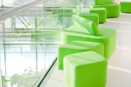 Shot of green armchairs in interior, daylight