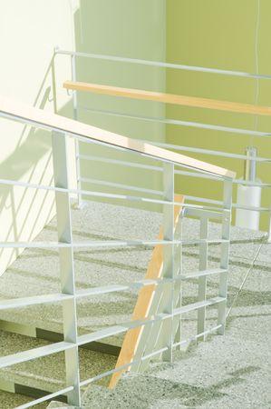 Shot of modern stairway with metal, wood and granite photo