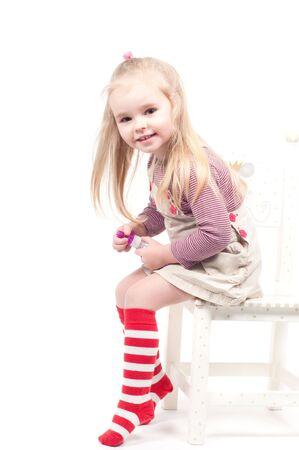 girl socks: 作る泡を少女ショット 写真素材