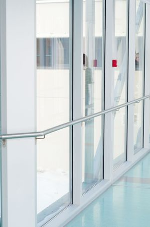 Shot of glass corridor, big windows, hall