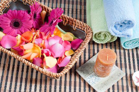 Studio shot of spa accessories, bamboo mat photo