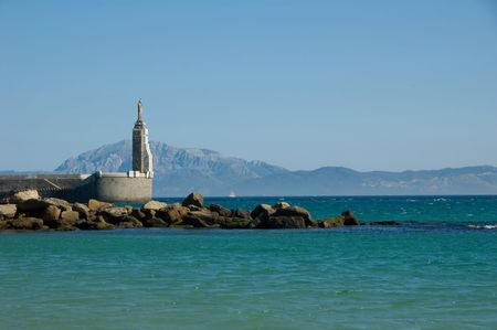 Beautiful view strait of Gibraltar, Tarifa, Spain Stock Photo