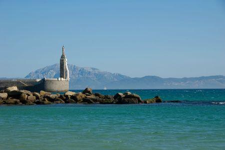 Beautiful view strait of Gibraltar, Tarifa, Spain Standard-Bild