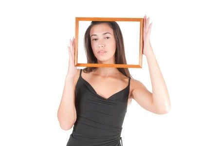 Woman with frame photo