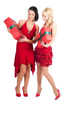 Happy women with Christmas presents photo