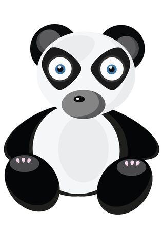 Little cute panda on white background Vector