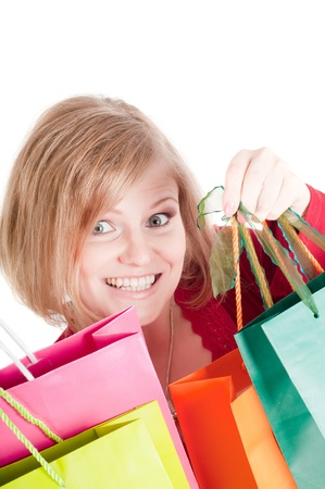 Belle femme avec des sacs � provisions