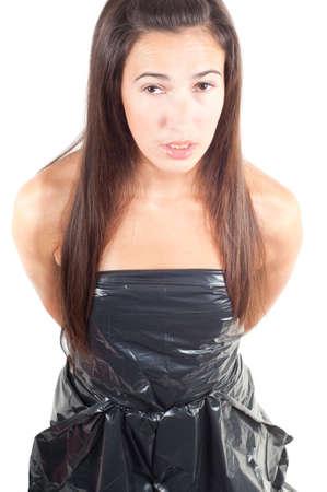 Mujer en vestido de reciclaje Foto de archivo - 8775840