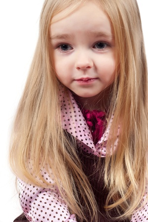 Portrait of little cute girl with long hair Stock Photo - 8967618