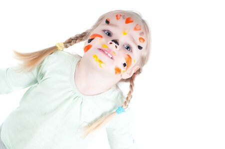 Little girl playing with colors photo
